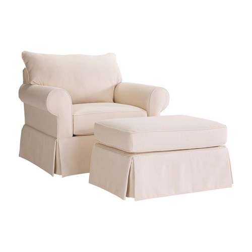 Broyhill Furniture Uptown Traditional Chair and Ottoman Set