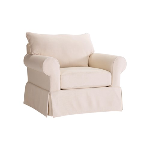 Broyhill Furniture Uptown Traditional Chair and a Half with Rolled Arms
