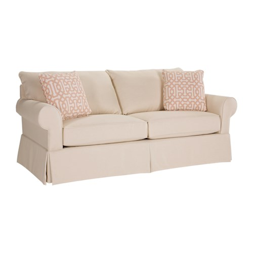 Broyhill Furniture Uptown Tranditional Stationary Sofa with Skirt