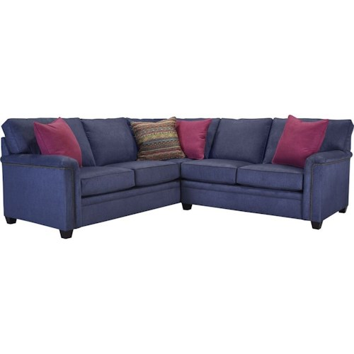 Broyhill Furniture Warren LAF Corner Sofa Sectional with Nail Head Trim
