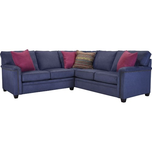 Broyhill Furniture Warren RAF Corner Sofa Sectional with Nail Head Trim