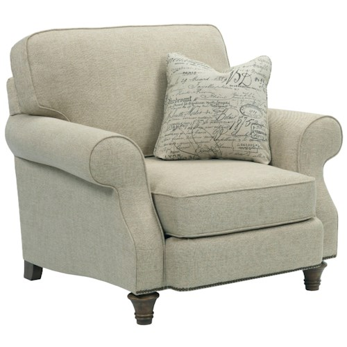 Broyhill Furniture Whitfield Chair-and-a-Half with Rolled Arms, Turned Wood Legs, and Nail Head Trim