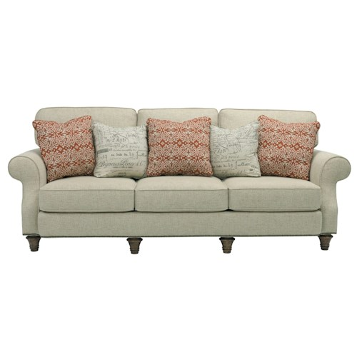 Broyhill Furniture Whitfield Stationary Sofa with Rolled Arms, Turned Wood Legs, and Nail Head Trim