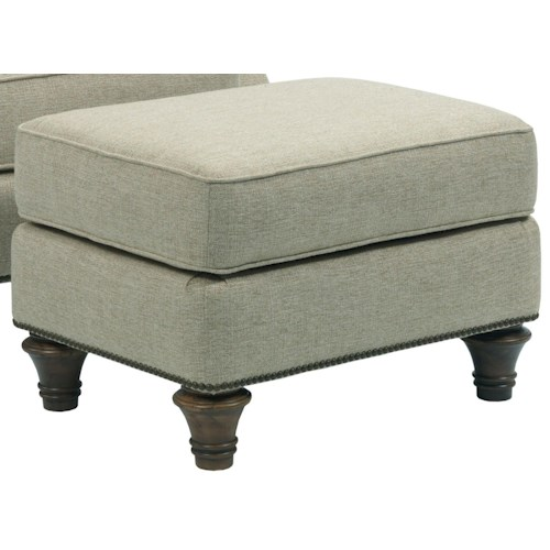 Broyhill Furniture Whitfield Upholstered Ottoman with Nail Head Trim and Turned Wood Legs