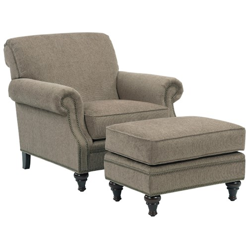Broyhill Furniture Windsor Chair and Ottoman Combination with Nail Head Trim
