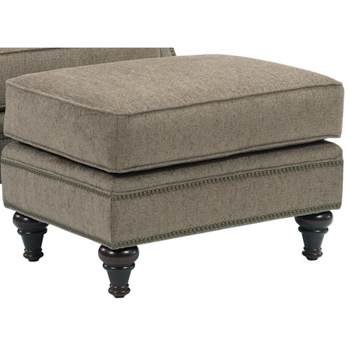 Broyhill Furniture Windsor Chair Ottoman with Nail Head Trim