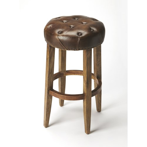 Butler Specialty Company Accent Seating BUTLER GALLATIN ROUND LEATHER BAR STOOL