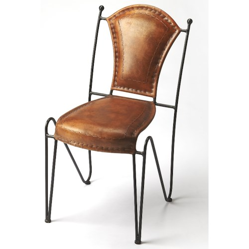 Butler Specialty Company Accent Seating Coriander Iron & Leather Side Chair