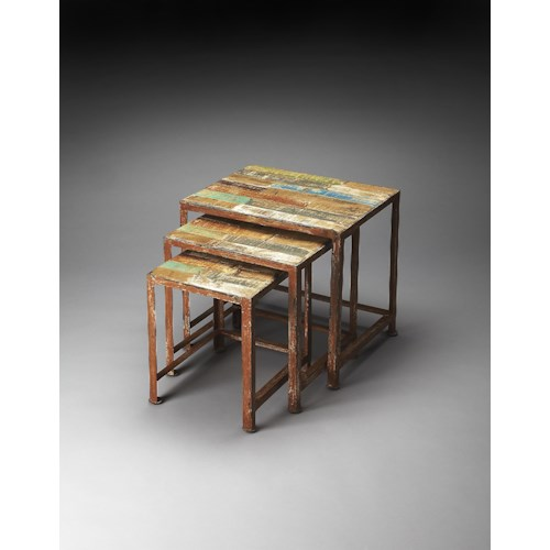 Butler Specialty Company Artifacts Decatur Recycled Wood & Iron Nesting Tables