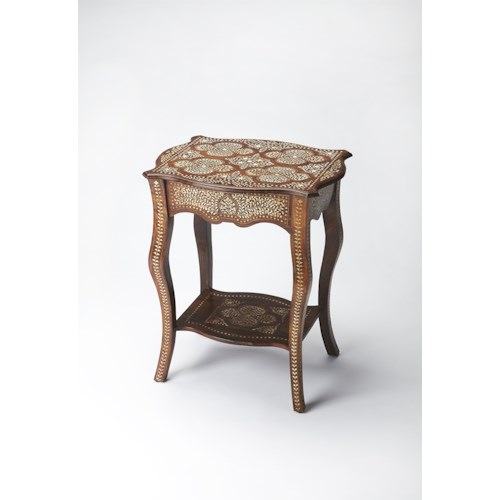 Butler Specialty Company Bone Inlay Wood & Bone Inlay Side Table