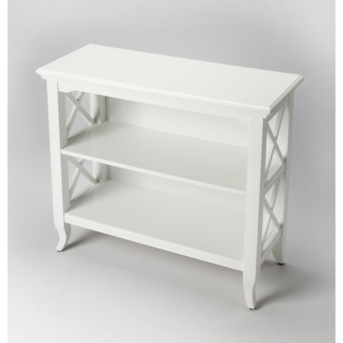 Butler Specialty Company Butler Loft Newport Glossy White Low Bookcase