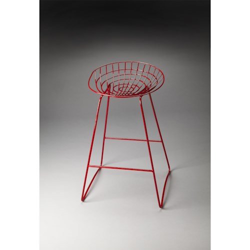 Butler Specialty Company Butler Loft Ludwig Red Metal Bar Stool