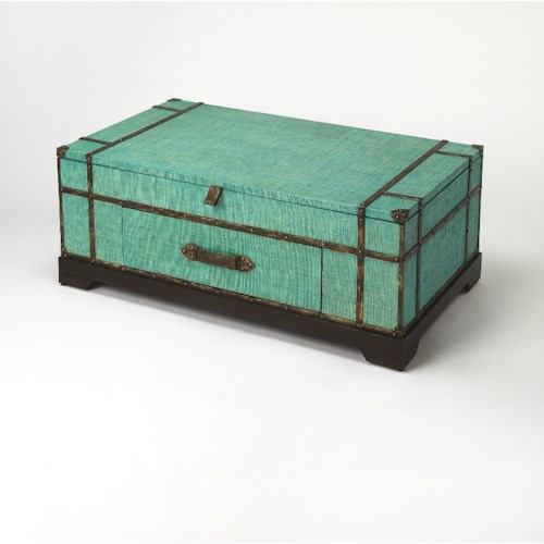 Butler Specialty Company Butler Loft Anabel Green Raffia Trunk Cocktail Table
