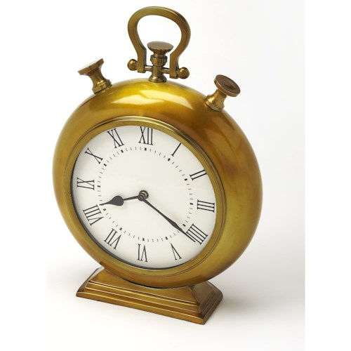 Butler Specialty Company Hors D'oeuvres Kenilworth Antique Brass Finish Desk Clock
