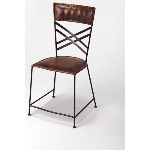 Butler Specialty Company Industrial Chic Hackney Brown Leather Side Chair