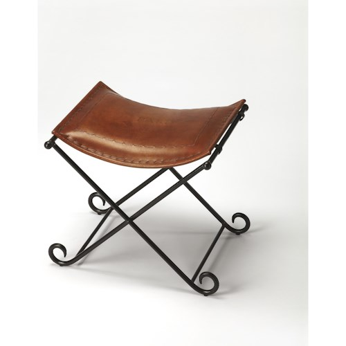 Butler Specialty Company Industrial Chic Melton Brown Leather Stool