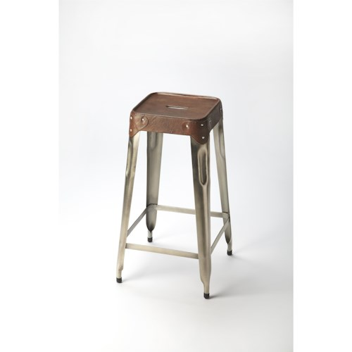 Butler Specialty Company Industrial Chic Connor Iron & Leather Barstool