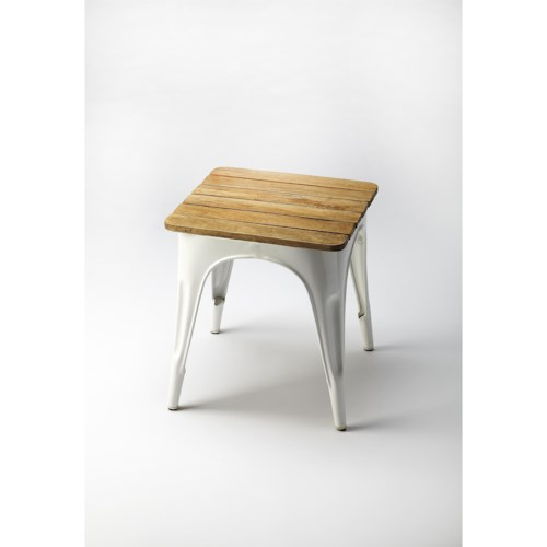 Butler Specialty Company Industrial Chic Junction White Iron & Wood Stool