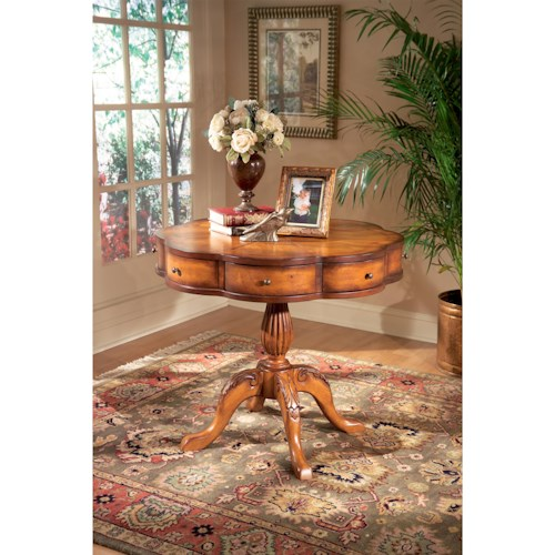 Butler Specialty Company Masterpiece  Chatham Olive Ash Burl Clover Pedestal Table