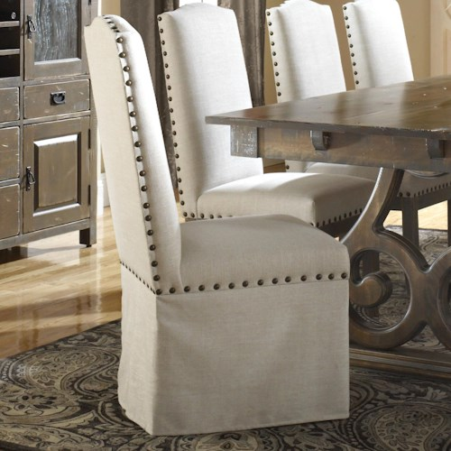 Canadel Champlain - Custom Dining Customizable Upholstered Side Chair with Skirt and Nailhead Trim