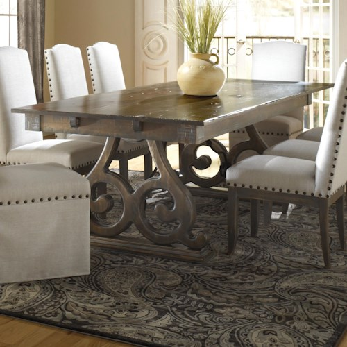 Canadel Champlain - Custom Dining Customizable Rectangular Table with Double Pedestal Base