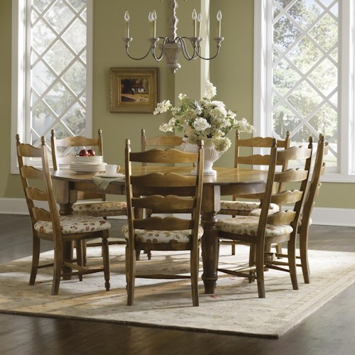 Canadel Champlain - Custom Dining Customizable Round Table with 7 Chairs