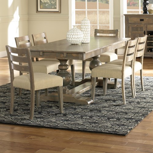Canadel Champlain - Custom Dining Customizable Rectangular Table Set with Trestle Base