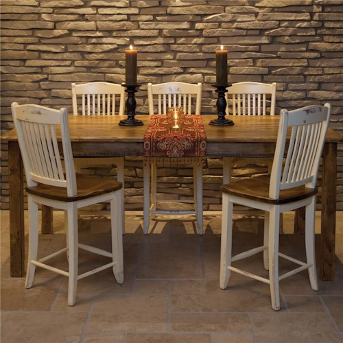 Canadel Champlain - Custom Dining Customizable Traditional Rectangular Gathering Height and Chair Set