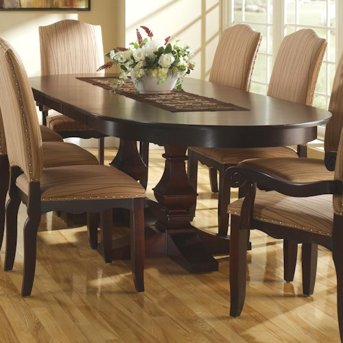 Canadel custom dining customizable table with pedestal for Custom dining room tables