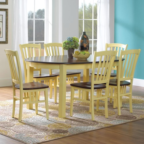 Canadel Custom Dining Customizable Oval Table Set with 6 Legs