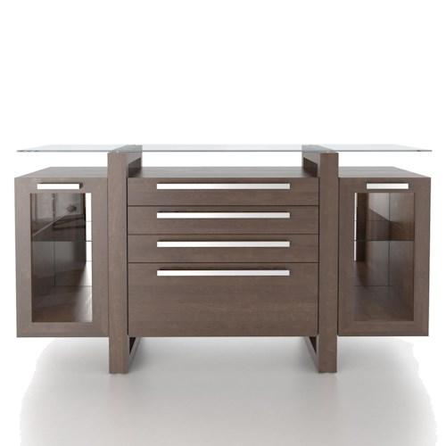 Canadel Custom Dining Modern Customizable Buffet with Glass Top