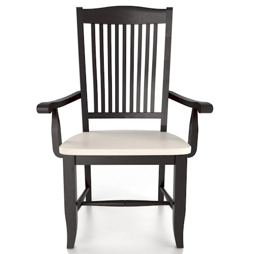 Canadel Custom Dining Customizable Slat Back Armchair - Wood Seat