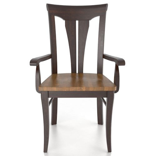 Canadel Custom Dining Customizable Sheaf Back Armchair - Wood Seat