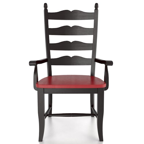 Canadel Custom Dining Customizable Ladder Back Arm Chair - Wood Seat