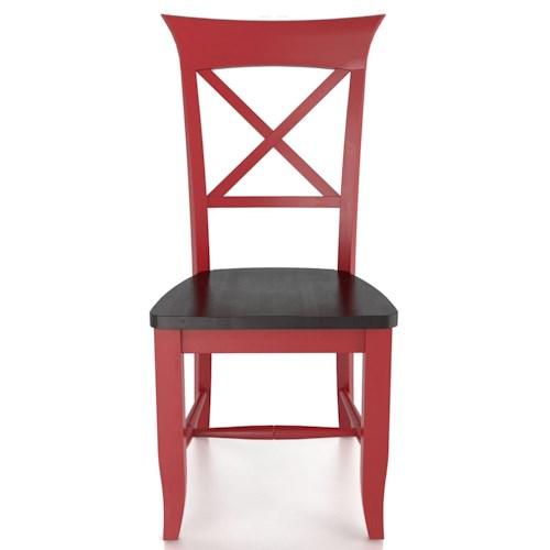 Canadel Custom Dining Customizable X Back Side Chair - Wood Seat