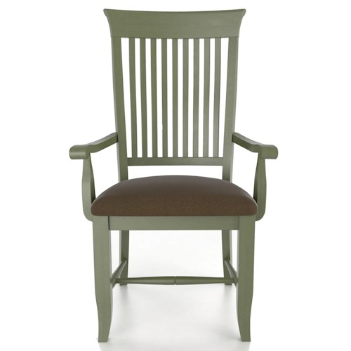 Canadel Custom Dining Customizable Slat Back Upholstered Arm Chair