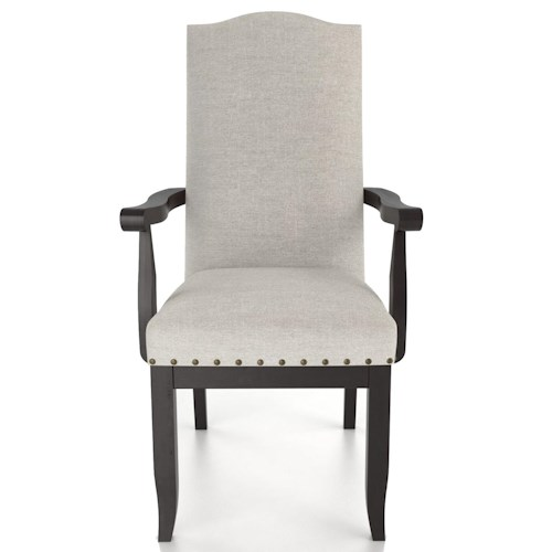 Canadel Custom Dining Customizable Upholstered Arm Chair with Nailhead Trim