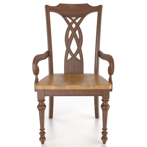 Canadel Custom Dining Traditional Customizable Arm Chair - Wood Seat