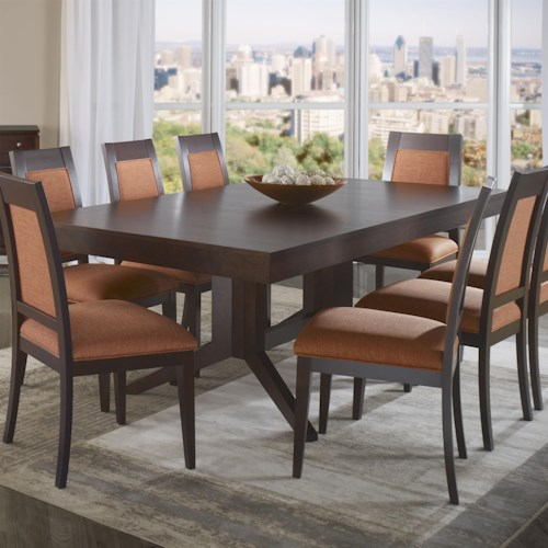 Canadel High Style - Custom Dining Customizable Rectangular Table with Pedestal Base