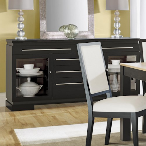 Canadel High Style - Custom Dining Modern Customizable Buffet with 2 Glass Doors