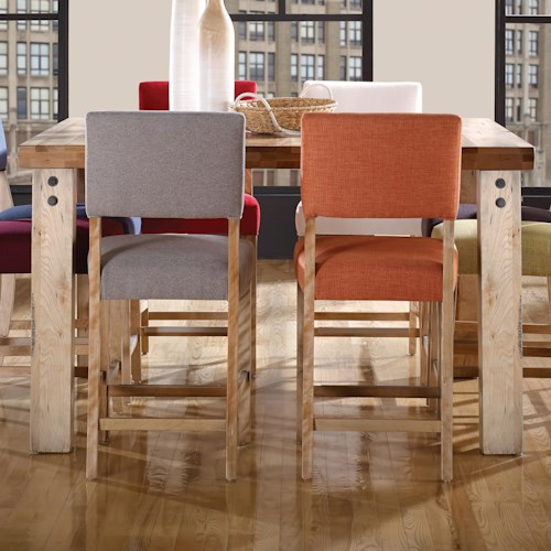 Canadel Loft - Custom Dining Customizable Square Counter Table with Legs & Accent Rivets