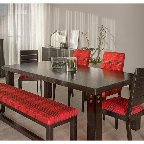 Canadel Loft - Custom Dining Customizable Rectangular Table with Accent Rivets