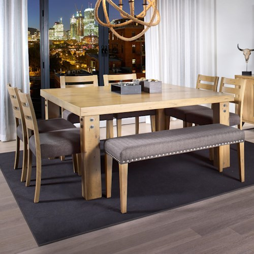 Canadel Loft - Custom Dining Customizable Square Dining Table Set with Bench