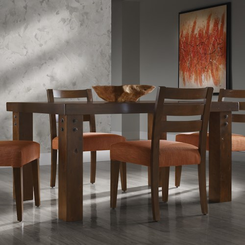 Canadel Loft - Custom Dining Customizable Rectangular Table with Legs & Accent Rivets