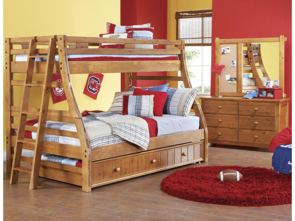 Shown in Room Setting with Bunk Bed, Ladder and Landscape Mirror