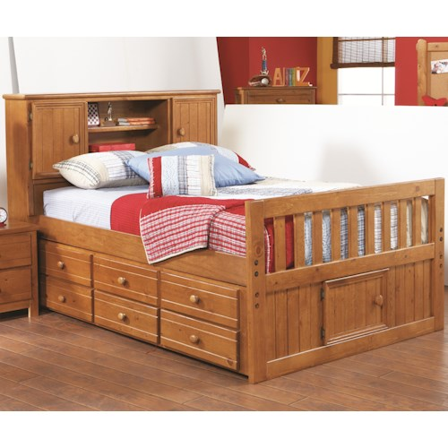 Morris Home Furnishings Cisco Full Captains Bed w/ Bookcase