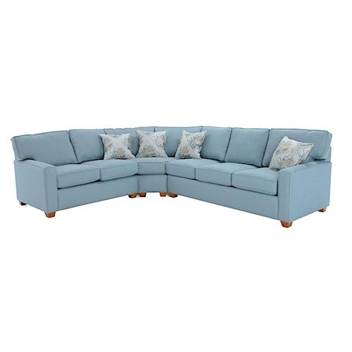 Capris Furniture 145 Three Piece Sectional Sofa with RAF Sleeper