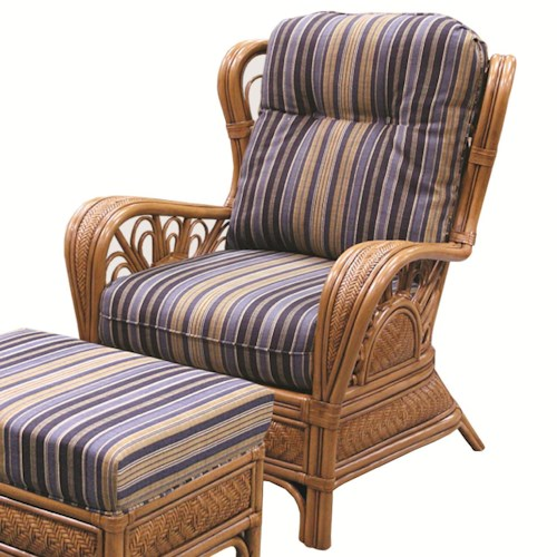 Capris Furniture 321 Collection Casual Wicker Rattan Upholstered Chair