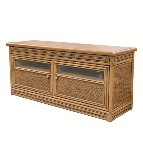 Capris Furniture 321 Collection Wicker Rattan Plasma TV Stand With Cabinet Doors