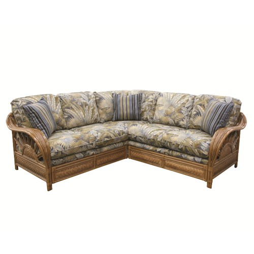 Capris Furniture 321 Collection Wicker Rattan Framed Sectional Sofa